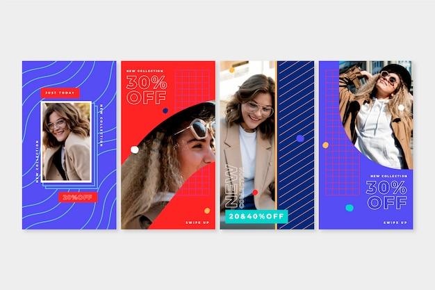 Collection d'histoires de vente instagram colorées