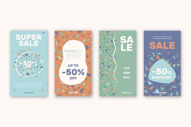 Collection d'histoires de vente instagram dans un style dessiné à la main