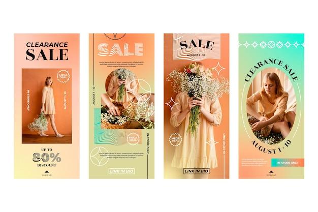 Collection d'histoires de vente instagram dégradé avec photo