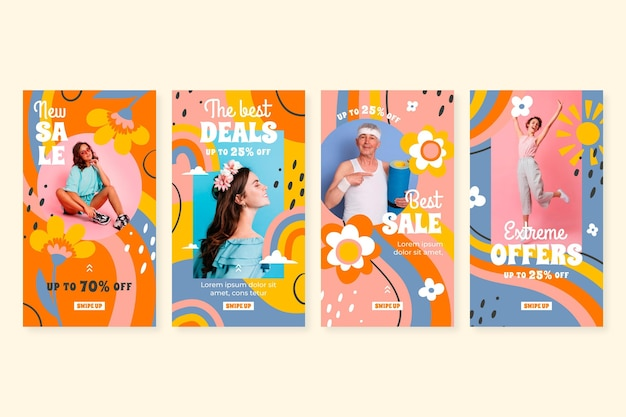 Collection d'histoires de vente instagram dessinées à la main avec photo