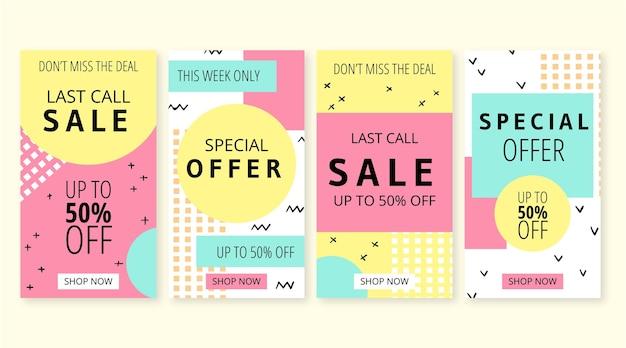 Collection d'histoires de vente instagram dessinées à la main
