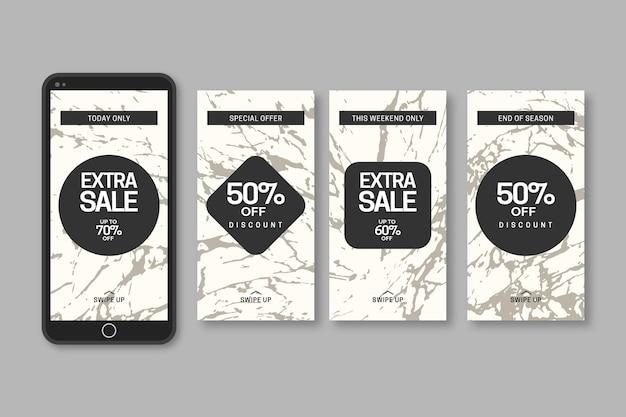 Collection d'histoires de vente instagram en marbre