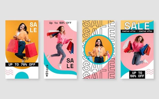 Collection d'histoires de vente instagram avec photo