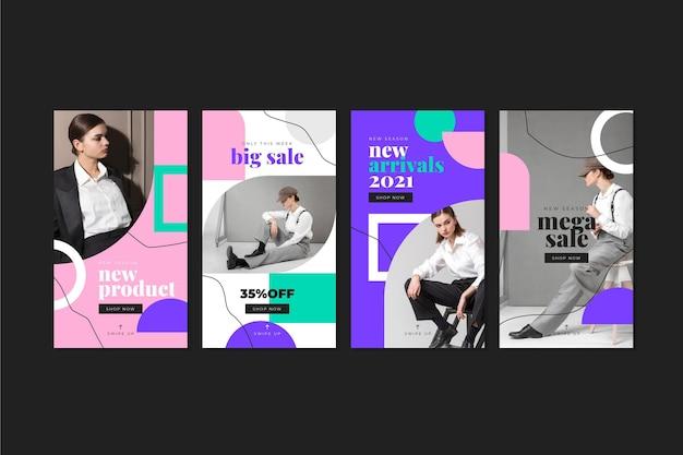 Collection d'histoires de vente instagram plat avec photo