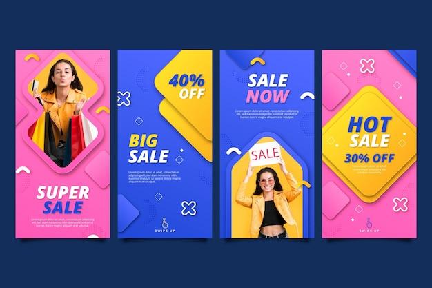 Collection d'histoires de vente instagram de style papier avec photo