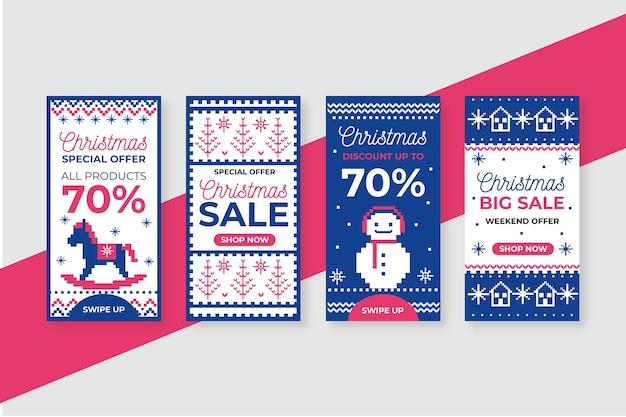 Collection d'histoires de vente de noël sur instagram