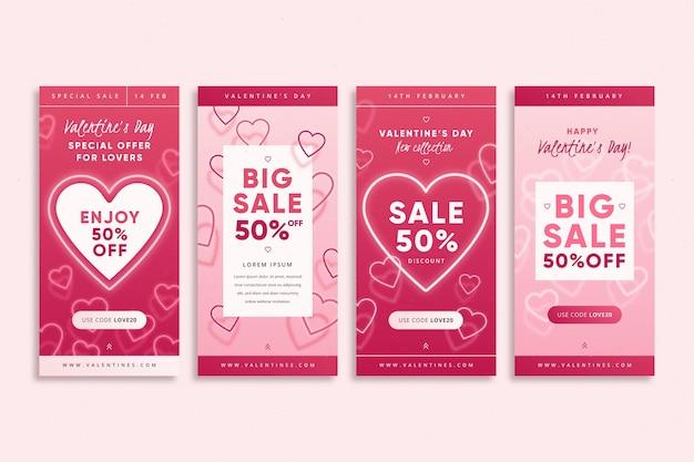 Collection d'histoires de vente de la saint-valentin