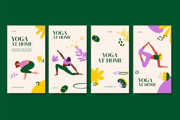 Collection d'histoires de yoga instagram