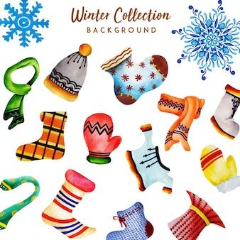 Collection d'hiver aquarelle