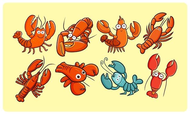Collection de homard drôle et mignon dans le style doodle kawaii