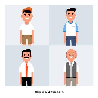 Collection d'hommes blancs de différents âges