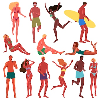 Collection d'hommes et de femmes en maillot de bain. jeunes humains dans différentes poses, nationalités sur la plage. dessins vectoriels dessinés à la main dans un style plat de dessin animé. ensemble d'éléments colorés isolé sur blanc.