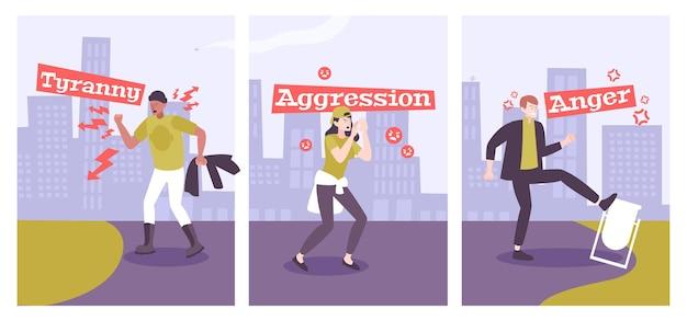 Collection d'hommes et de femmes souffrant de troubles mentaux afin que l'agression tyrannie la colère plate