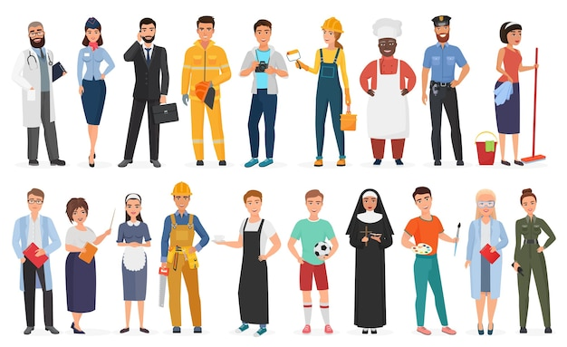 Collection d'hommes et de femmes travailleurs de diverses professions ou professions différentes portant l'uniforme professionnel