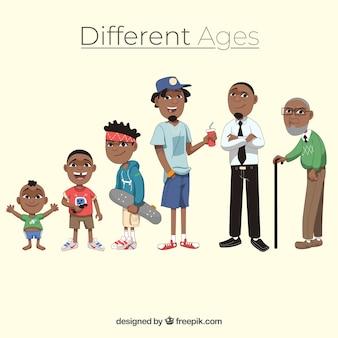 Collection d'hommes noirs de différents âges