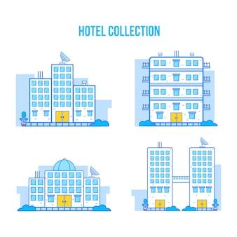 Collection d'hôtels de style plat