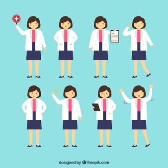 Collection de huit personnages de femme médecin