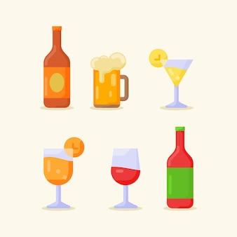Collection d'icône de boisson boisson isolée sur beige