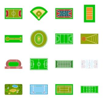 Collection d'icône de champ et d'herbe.