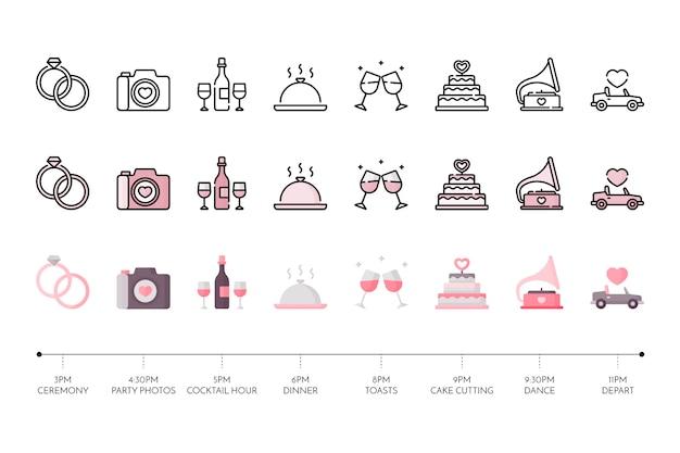 Collection d'icône de mariage