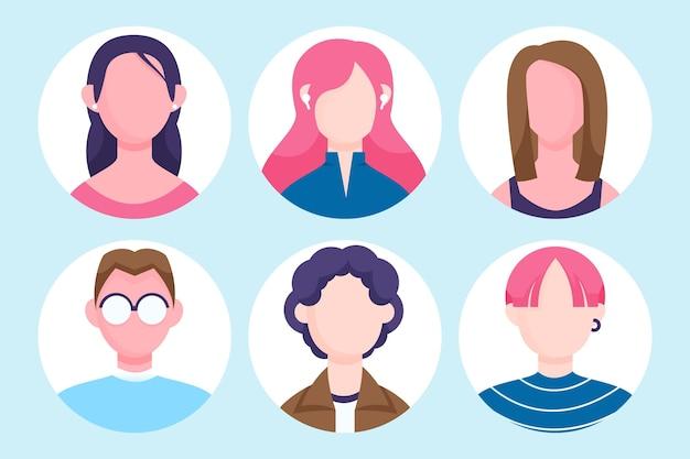 Collection d'icône de profil design plat