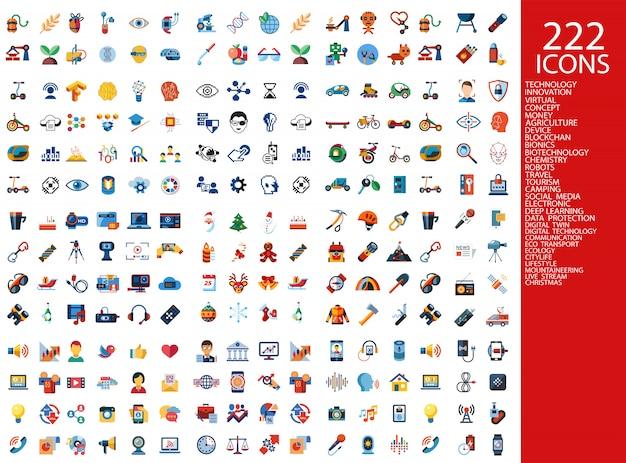 Collection d'icônes 222 couleurs