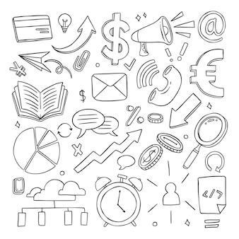 Collection d'icônes d'affaires doodle dessinés à la main