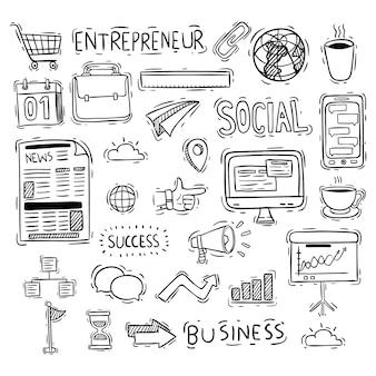 Collection d'icônes d'affaires mignon avec style doodle
