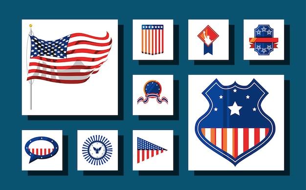 Collection d'icônes américaines