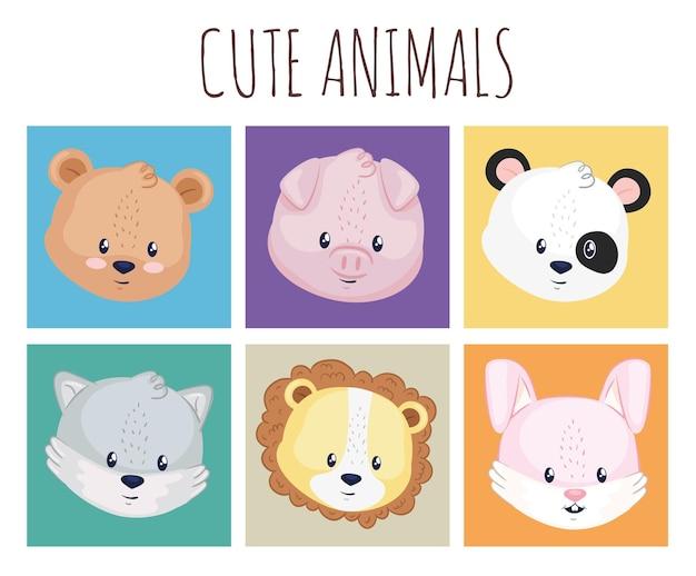 Collection d'icônes avec des animaux