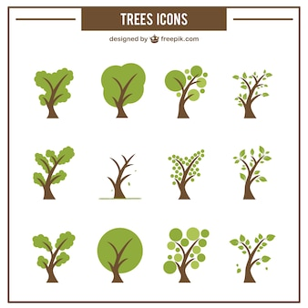 Collection d'icônes d'arbres verts