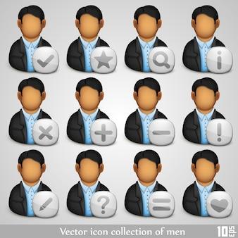 Collection d'icônes de l'art des hommes. illustration vectorielle