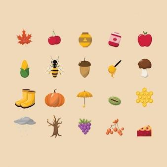 Collection d'icônes d'automne