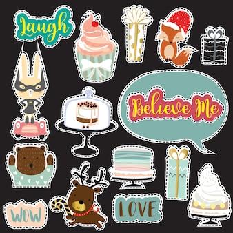 Collection d'icônes de bandes dessinées avec lapin, ours, libellé d'icône: amour, wow, croire, rire