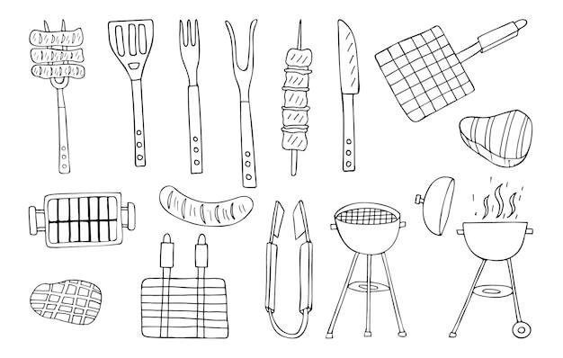Collection d'icônes de barbecue doodle. collection d'icônes de barbecue dessinés à la main.