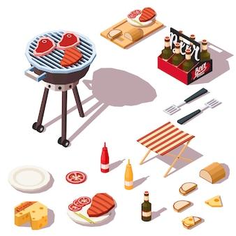 Collection d'icônes de barbecue.