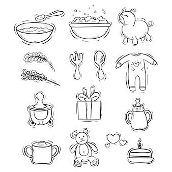 Collection d'icônes de bébé avec style doodle