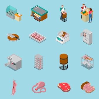 Collection d'icônes de boucherie isométrique