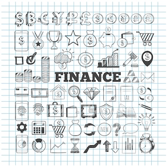 Collection d & # 39; icônes business et finance