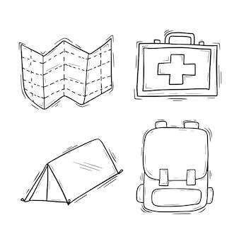 Collection d'icônes de camping doodle