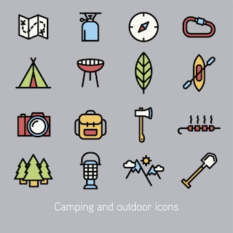 Collection d'icônes de camping