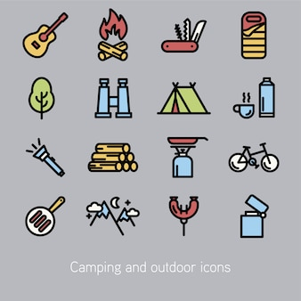 Collection d'icônes de camping
