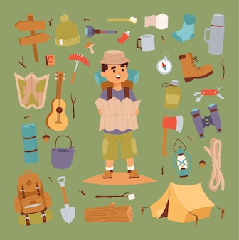 Collection d & # 39; icônes de camping