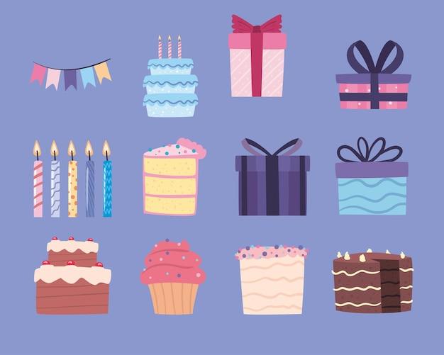 Collection d'icônes de célébration d'anniversaire