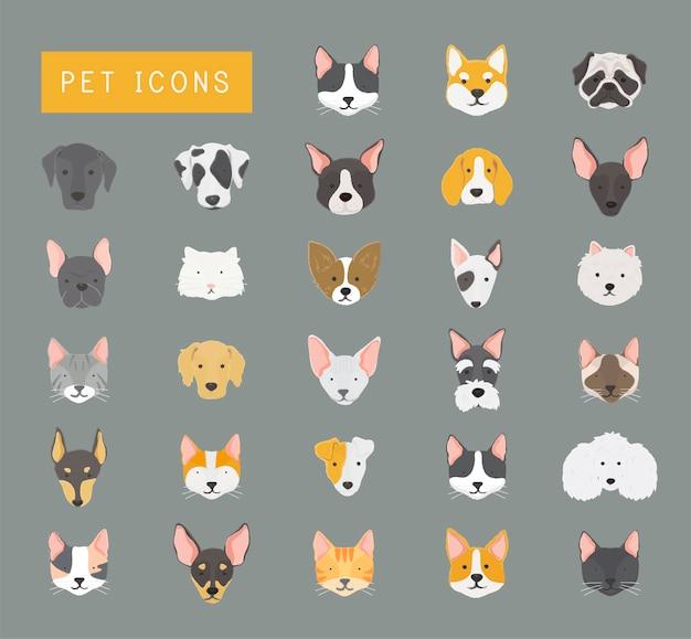 Collection d'icônes de chats et de chiens