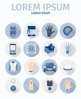 Collection d'icônes de communication en champ proche