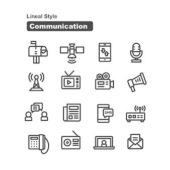 Collection d'icônes de communication dans le style de ligne