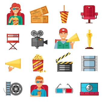 Collection d'icônes décoratives cinéma couleur plat