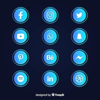 Collection d'icônes de dégradé de médias sociaux