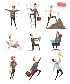 Collection d'icônes dessin animé homme d'affaires prospère
